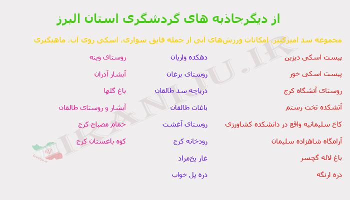 جاذبه های گردشگری استان البرز