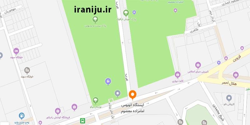 ایستگاه اتوبوس امام زاده معصوم محدوده خیابان هفت چنار